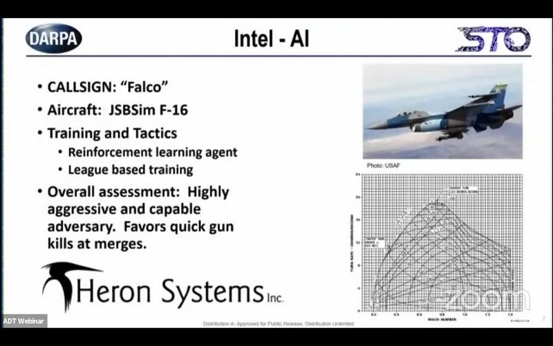 在與人類的最終對決前,DARPA介紹Heron的人工智慧綽號是「Falco」,具有高度侵略性並擅長在迎面交會進行快速攻擊。  圖/DARPA