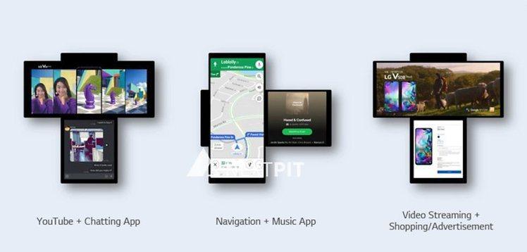外媒Nextpit揭露的「LG Wing」雙螢幕多工用法。圖/摘自Nextpit