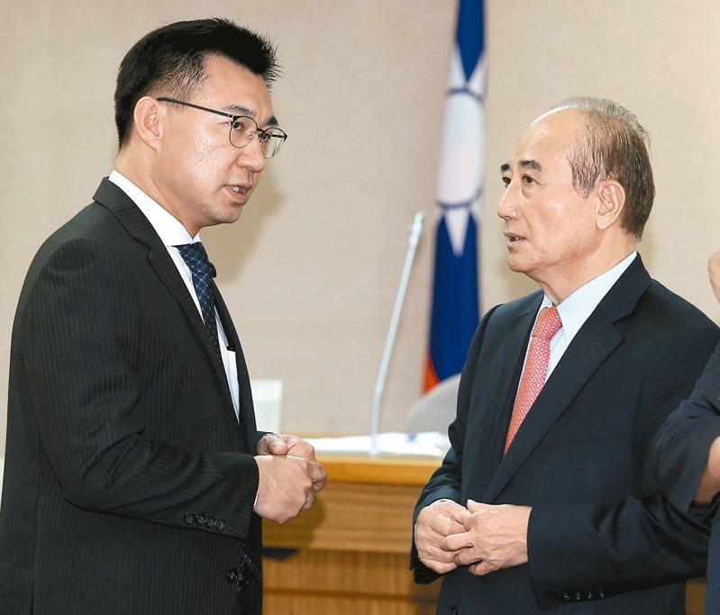 國民黨主席江啟臣和立法院前院長王金平。本報資料照片