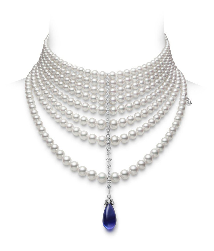 MIKIMOTO頂級珠寶系列丹泉石珍珠鑽石頸鍊,價格未定。圖/MIKIMOTO提...