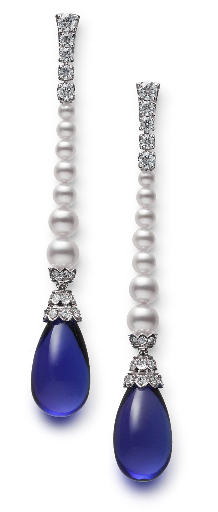 MIKIMOTO頂級珠寶系列丹泉石珍珠鑽石耳環,價格未定。圖/MIKIMOTO提...