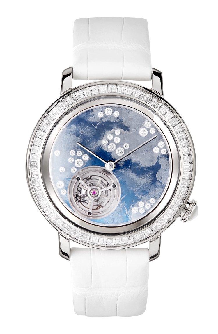 Boucheron,Epure Tourbillon腕表,白K金,43毫米,手上...