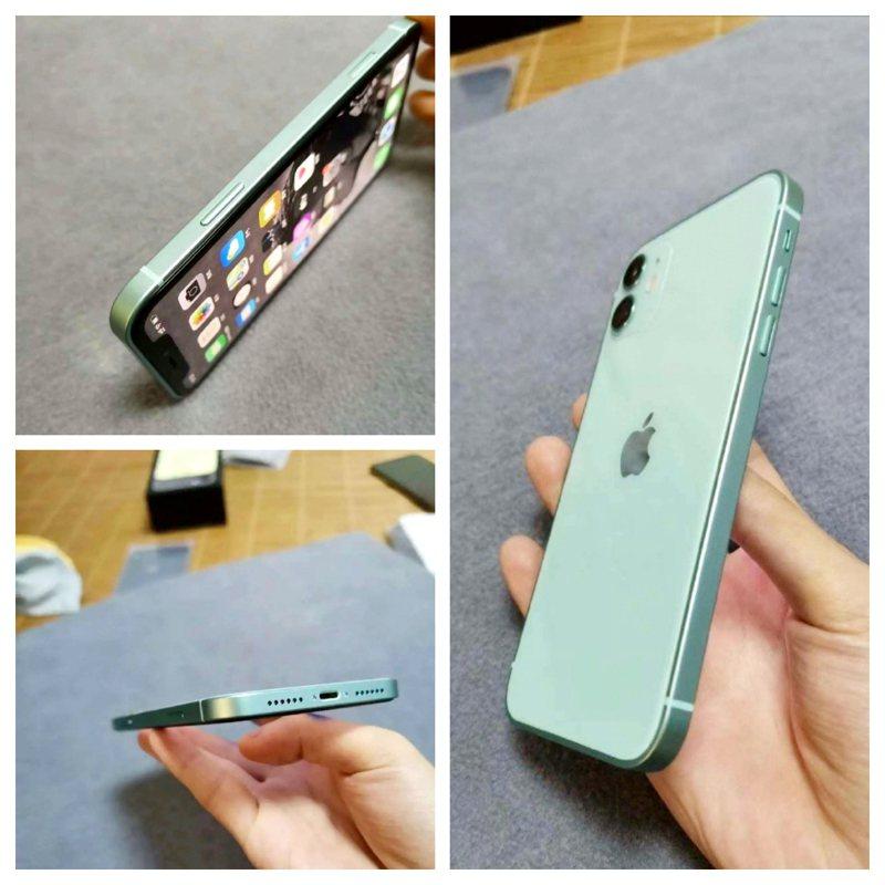 疑似iPhone 12的湖水綠真機曝光,引發網友們熱議。圖擷自微博