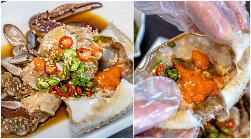 老闆本身為韓國醬蟹愛好者,專程到韓國學習,再改良成更貼近台人的專屬口味。圖/饗食客棧。淘氣猴vs肥獅子的旅食天堂