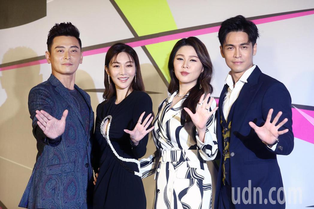陳冠霖(左起)、曾莞婷、白家綺、Gino擔任第55屆金鐘獎分段主持人。記者蘇健忠...