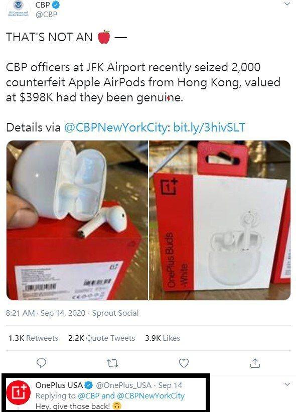 OnePlus公司在CBP當局的推文底下回復:「嘿!把它們還來!」引發討論。(TWEETER/CBP)