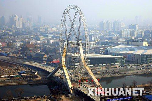 亞行預計今年大陸經濟增長1.8%,明年7.7%。圖為「天津眼」。(新華網)