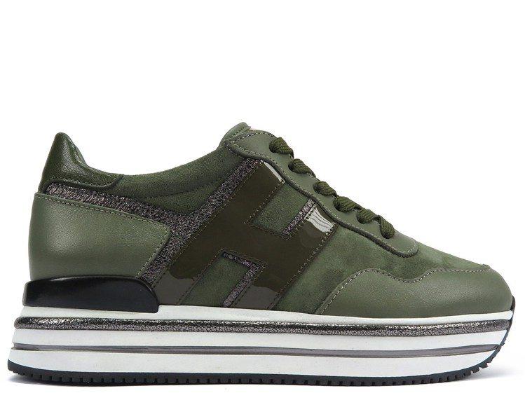 Midi H222森林綠麂皮拼接女士休閒鞋,20,900元。圖/迪生提供