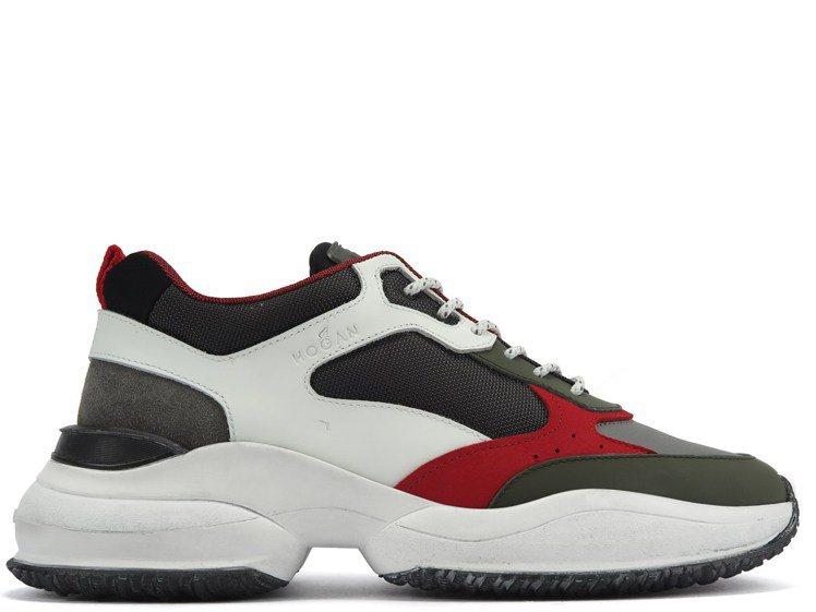 Interaction紅色皮革拼接男士休閒鞋,19,600元。圖/迪生提供