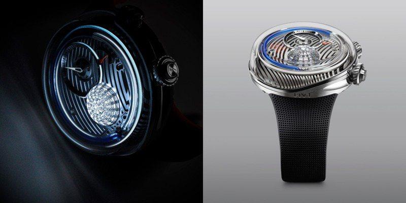 HYT,FLOW腕表,51毫米,精鋼,藍寶石水晶玻璃,獨家微型流體時間顯示系統,按壓式表冠可開啟照明功能約2秒鐘,限量25枚,約538萬元。圖 / HYT提供。