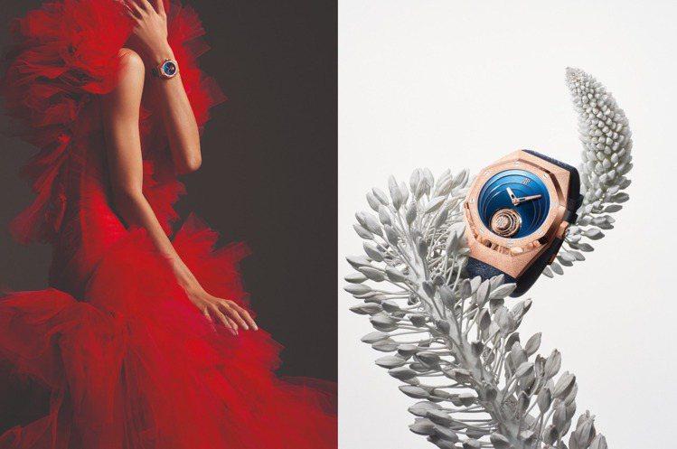 愛彼的皇家橡樹概念系列「霜金飛行陀飛輪腕表」,別緻的「霜金」質地,散發著前衛的高...