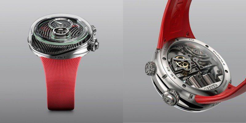 除鑽石版本,FLOW另有無鑽款並搭配紅色或橘色橡膠表帶,可於透明後底蓋欣賞機芯結構。圖 / HYT提供。