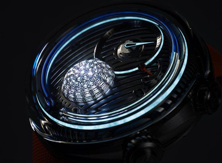 鑲嵌以73顆狹長型鑽石的HYT腕表、鑽石底部並有LED燈,讓夜間讀時格外迷幻也科...