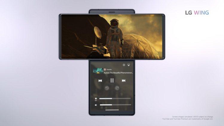 使用LG WING獨特規格優化的影音平台應用程式時,第二螢幕可作為媒體控制器。圖...