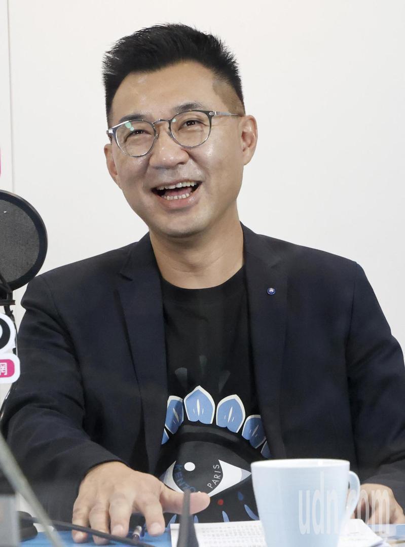 國民黨主席江啟臣今天傍晚接受廣播節目專訪。記者余承翰/攝影