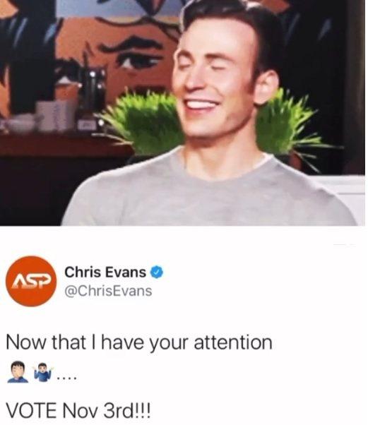 克里斯伊凡在社群網站上發短片自嘲兼呼籲美國民眾要參與總統投票。圖/摘自Insta...