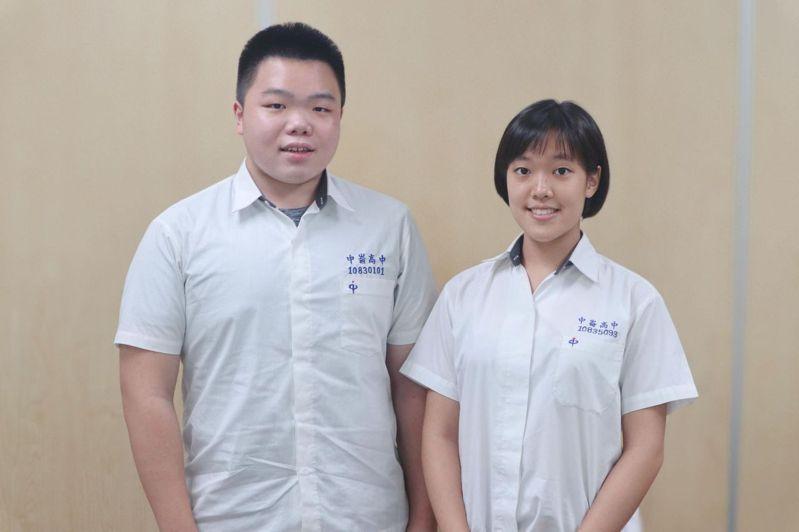 中崙高中胡修銘(左)、李怡青。張瑋珊/攝影