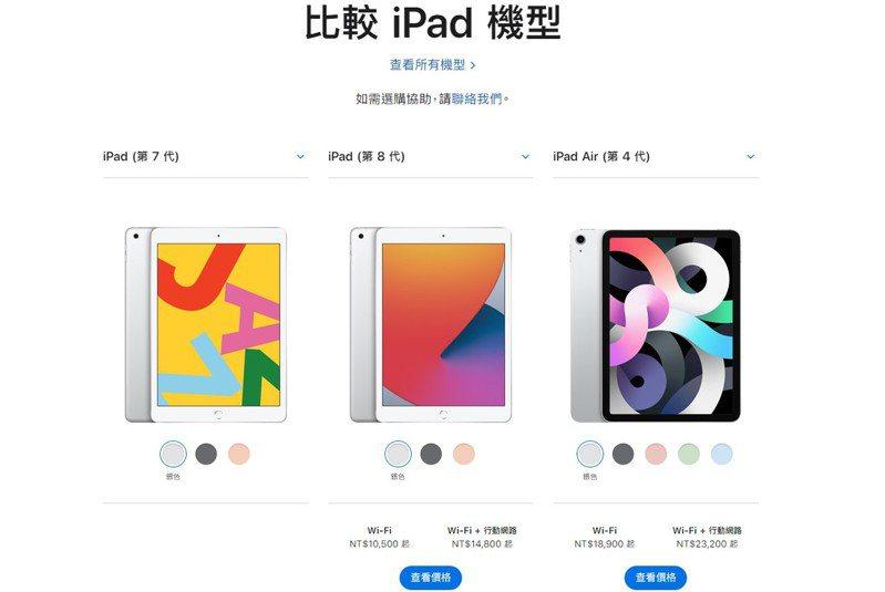 由左而右分別為第7代iPad、第8代iPad,以及第4代iPad Air規格比較。 蘋果官網