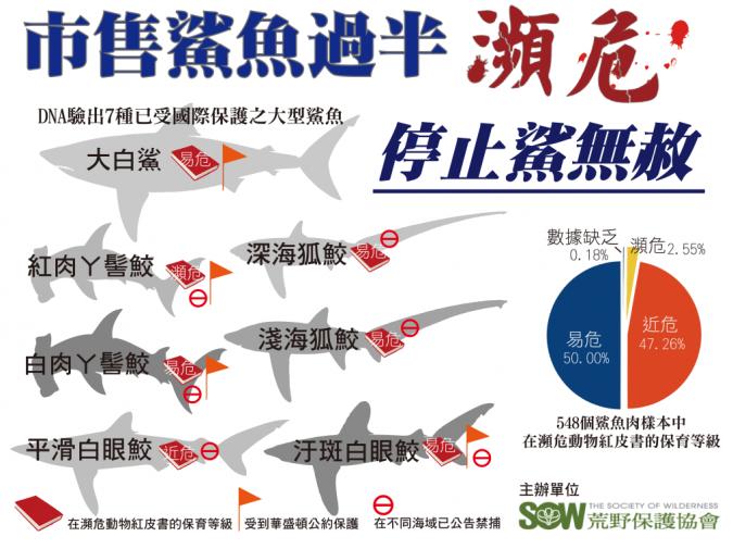 根據2013年荒野保護協會發表的「愛鯊DNA檢測計畫」資料顯示,當時有98%以上...