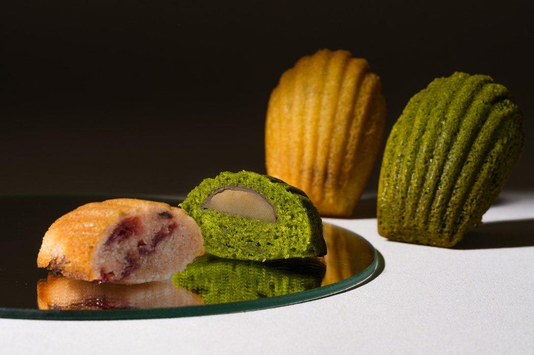 瑪德蓮口味:楓糖培根、抹茶栗子、洛神花覆盆子。 圖/點點甜甜提供