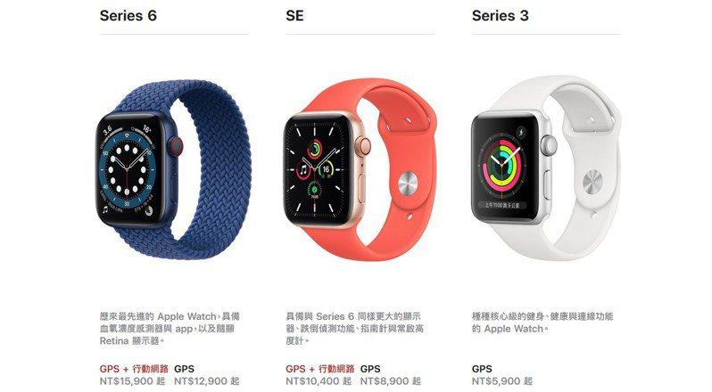 Apple Watch series 6及平價版本Apple Watch SE官網售價。 圖擷自蘋果官網