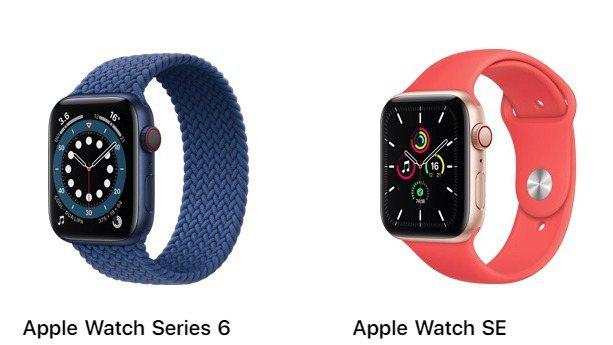 Apple Watch Series 6與SE產品圖。 圖/截自Apple官網