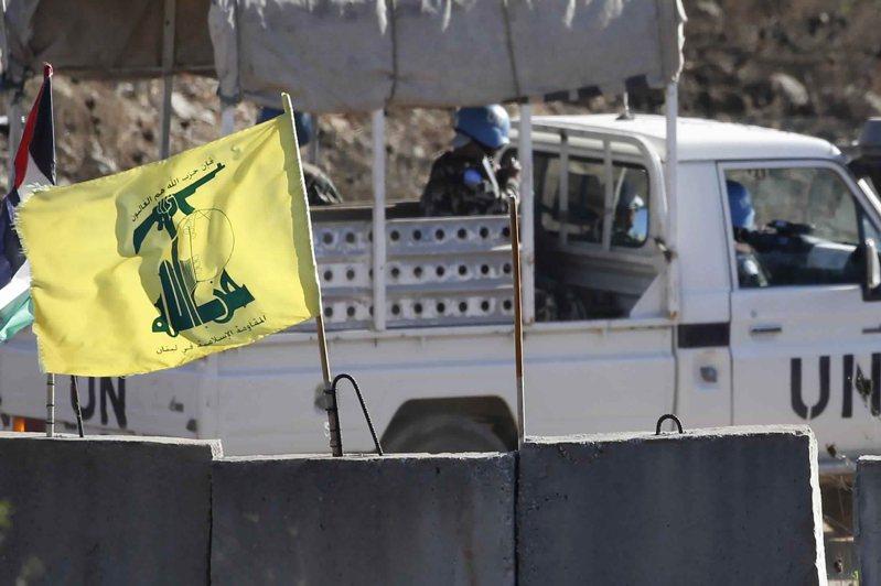 黎巴嫩真主黨(Hezbollah)旗幟。 美聯社