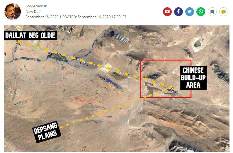 比對歐洲太空總署7月和9月拍攝拉達克一帶的衛星圖片發現,中國人民解放軍在拉達克德普桑(Depsang)平原北部和陶貝奧迪(Daulat Beg Oldi)一帶正在集結兵力。 圖擷自India Today TV