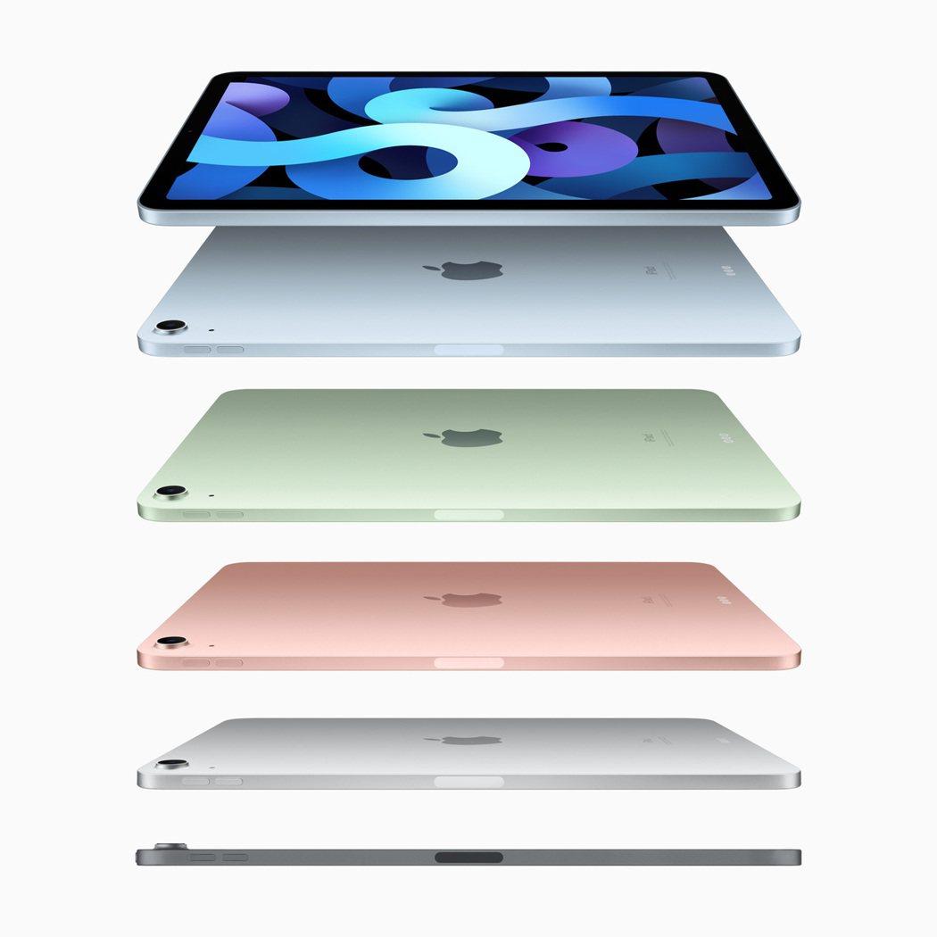 全新iPad Air擁有5款夢幻新色。圖/蘋果提供