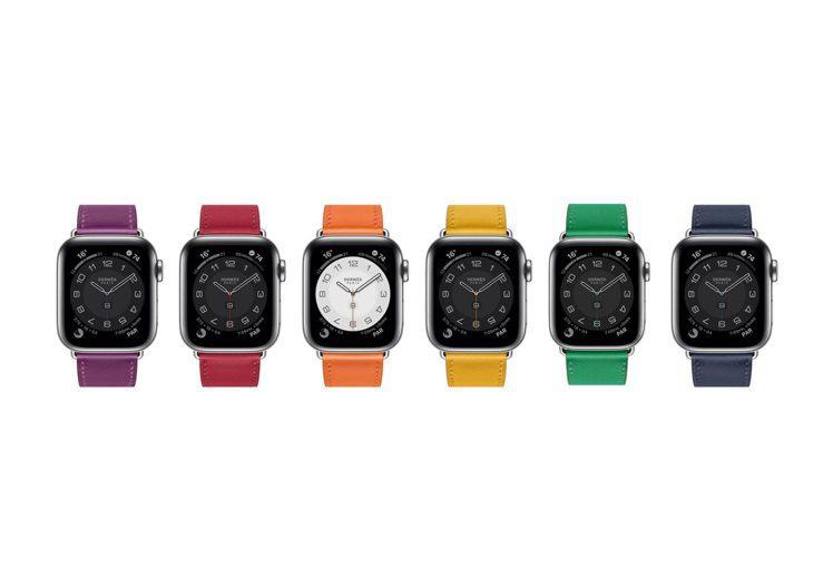 第六代Apple Watch Hermès推出全新鮮豔色調的繽紛表帶。圖/愛馬...