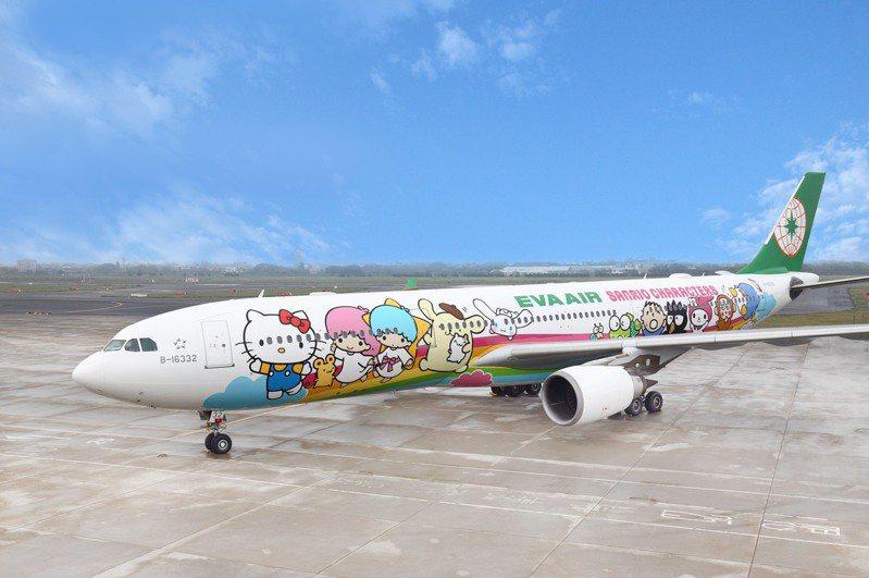 長榮航空「類出國專案航班2.0-高雄限定」,由彩繪雙機-「夢想機」及「郊遊機」聯袂飛航南台灣。圖/業者提供