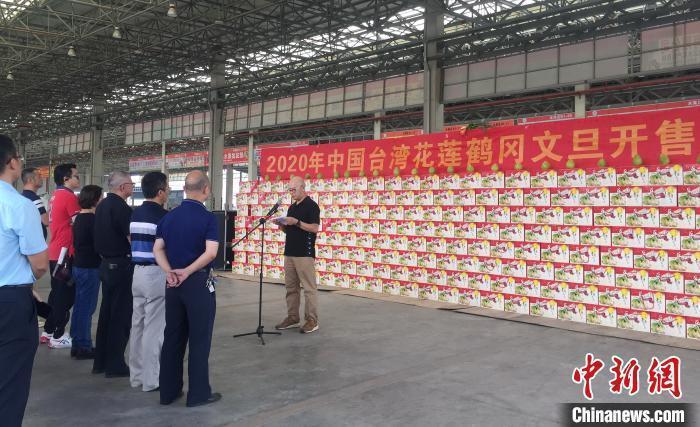 花蓮鶴岡文旦今(16)日在廣西南寧開賣。圖:中新網