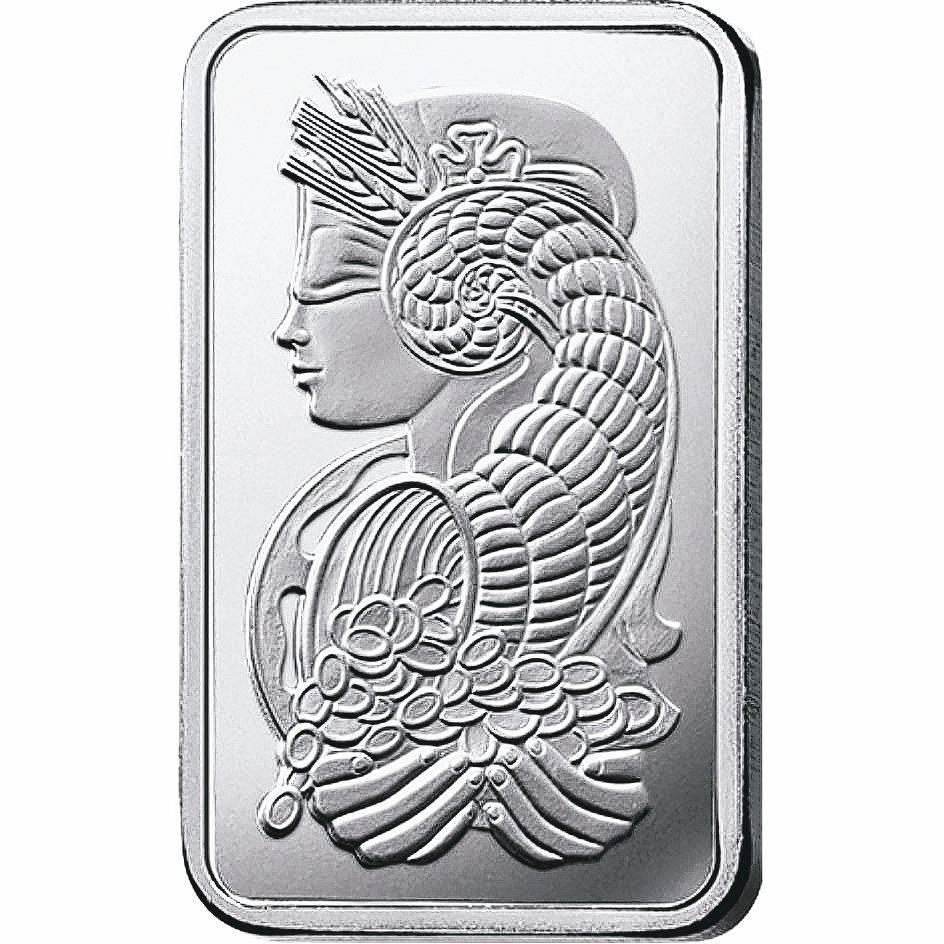 瑞士PAMP幸運女神1公克鈀金條塊,臺銀上架。 臺銀/提供