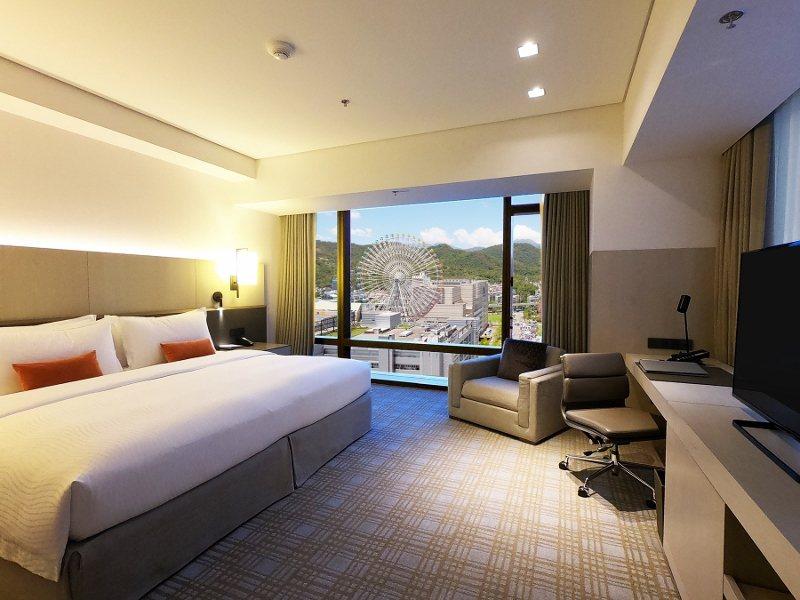 台北萬豪酒店豪華套房,窗外是美麗華摩天輪景觀。
