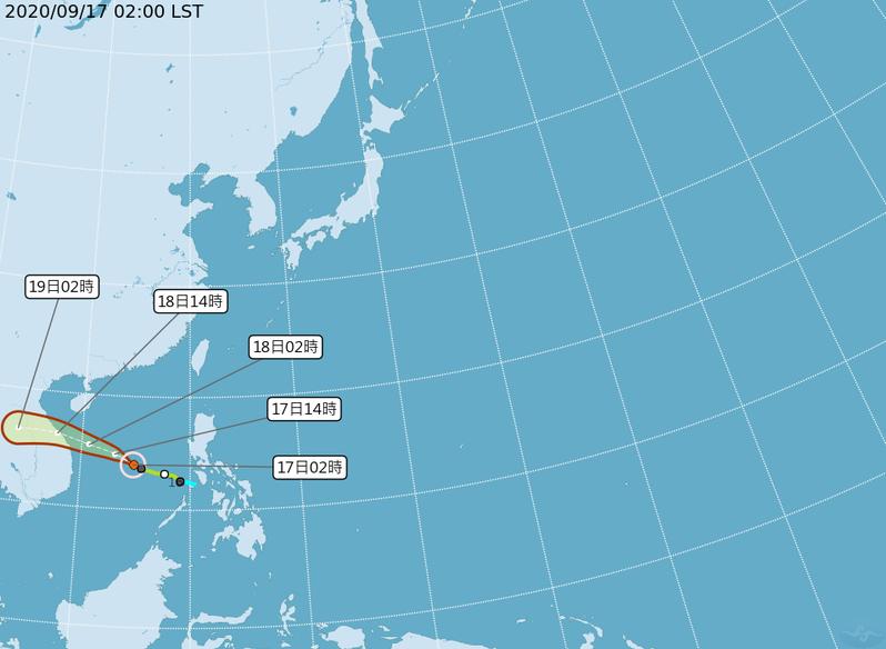 紅霞颱風持續增強,預測向西北西,通過海南島南方海面,明天下午登陸越南中部,對台無影響。 圖/取自氣象局網站