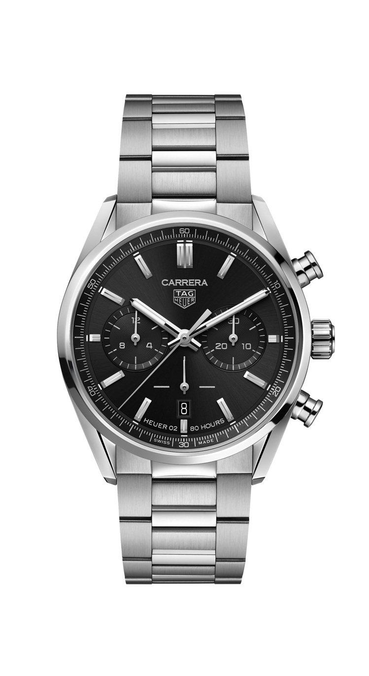 泰格豪雅Carrera系列計時碼表,不鏽鋼表殼、表鍊,搭配黑色蛋白石表盤,約17...