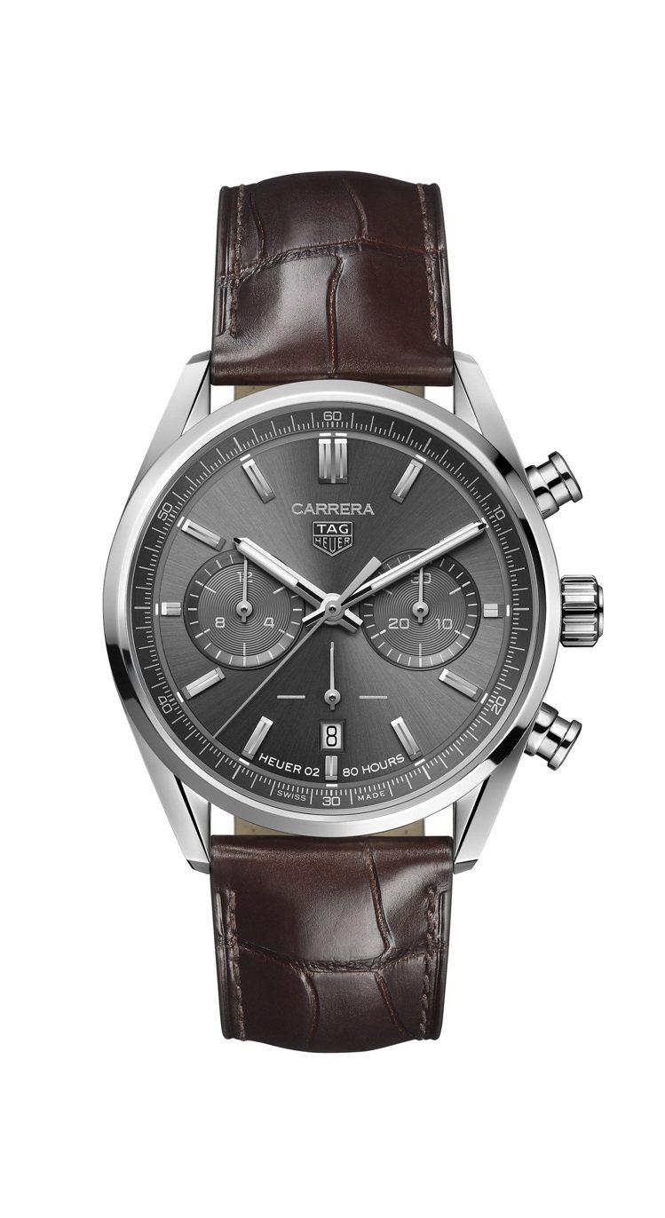 泰格豪雅Carrera系列計時碼表,不鏽鋼表殼,約17萬5,000元。圖/TAG...