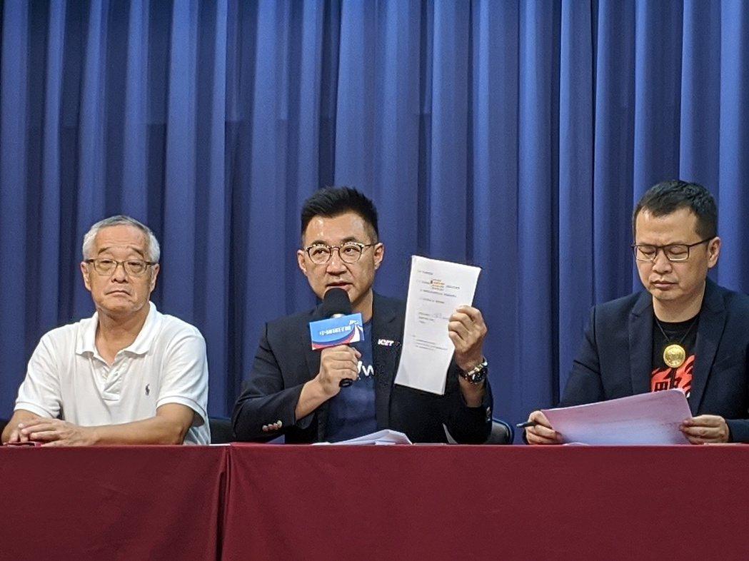 國民黨主席江啟臣(中)。記者劉宛琳/攝影