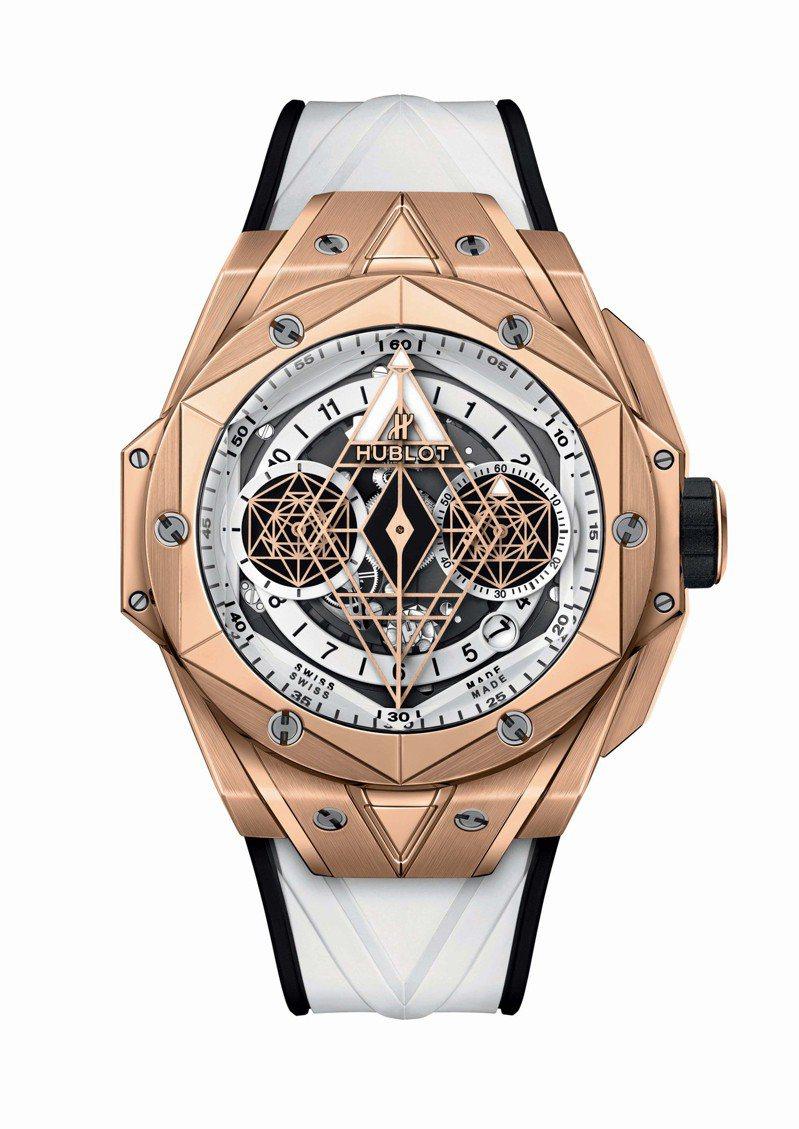 Big Bang Unico Sang Bleu II墨白計時碼表皇金款,146萬9,000元,全球限量100只。圖/宇舶表提供