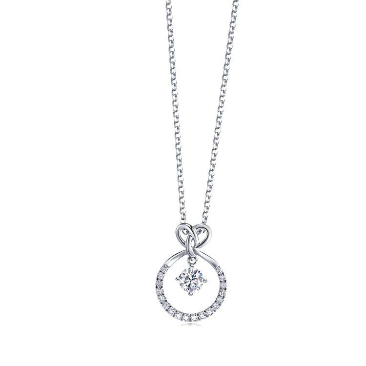 點睛品Promessa 18K白金「同心結」鑽石圓環頸鍊,唯訂製才有的款式,價格...