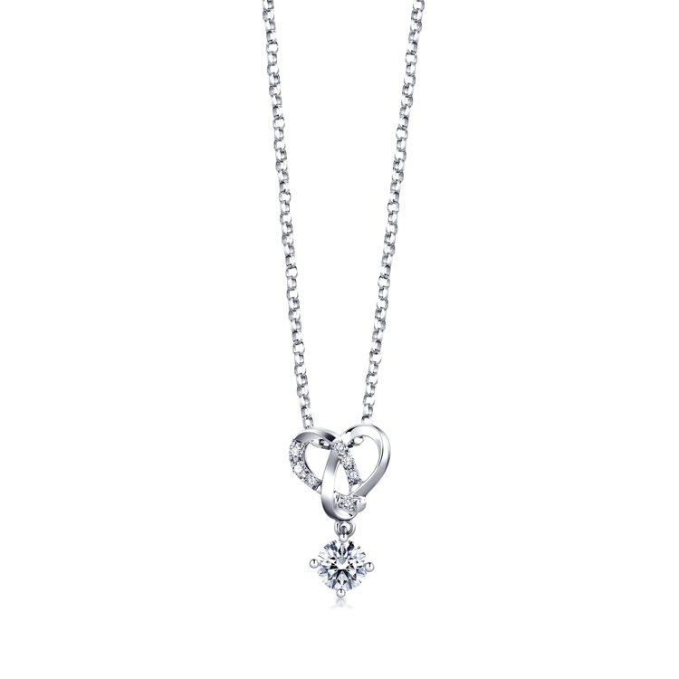 點睛品Promessa 18K白金「同心結」鑽石頸鍊訂製隱藏版,唯訂製才有的款式...