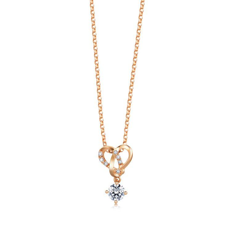 點睛品Promessa 18K玫瑰金「同心結」鑽石頸鍊32,700元起 有現貨...