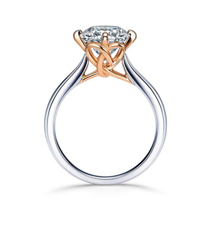 點睛品Promessa 18K白金玫瑰金雙色「同心結」鑽石戒指,主石30分起,4...