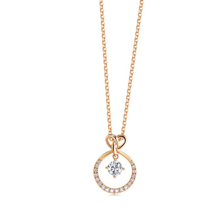 點睛品Promessa 18K玫瑰金「同心結」鑽石圓環頸鍊,主石18分起,38,...