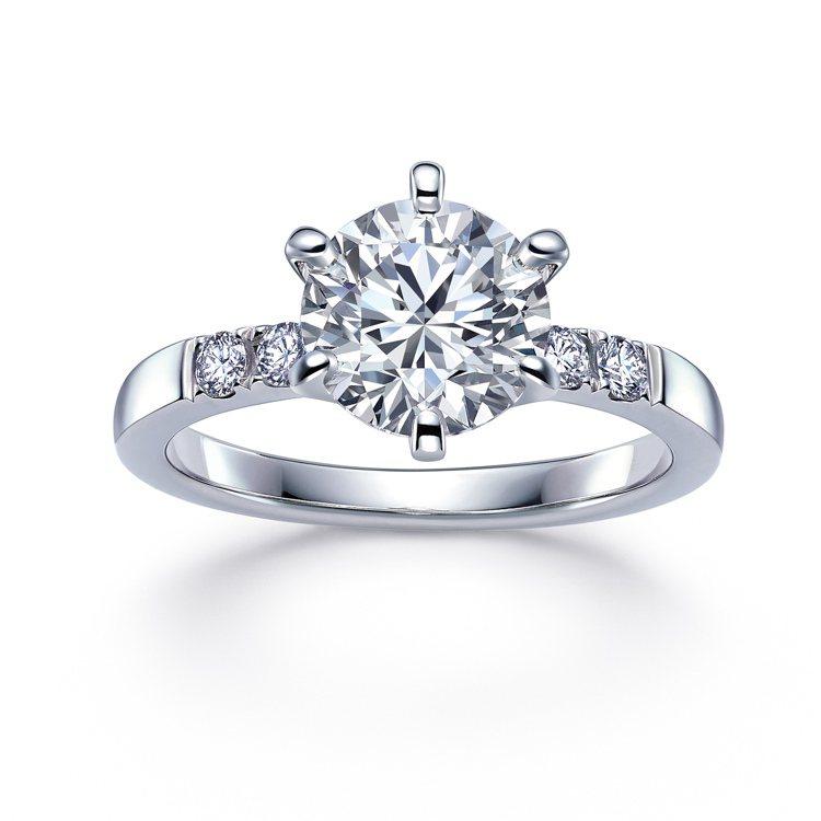 點睛品Promessa 18K白金「星宇」鑽石戒指,主石30分,46,300元起...