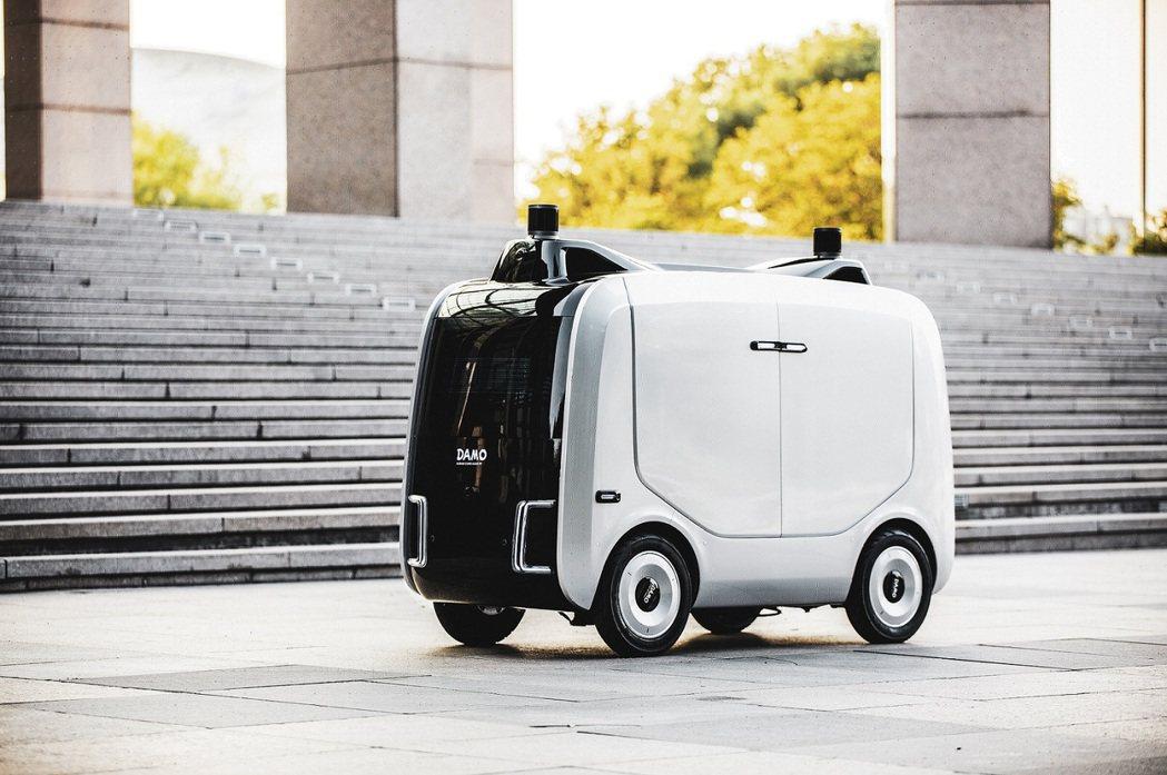 阿里雲推出由阿里巴巴達摩院開發的自動物流機器人—「小蠻驢」。圖/阿里巴巴