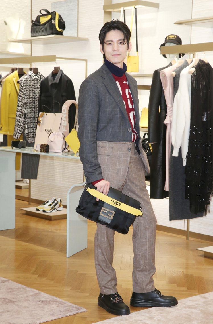 林柏宏穿FENDI雙色拼接西裝79,000元、毛衣34,900元、西褲32,90...