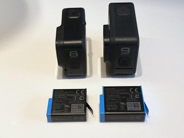 HERO9 Black與前一代機種相比,機身與電池都明顯大了不少。記者黃筱晴/攝...