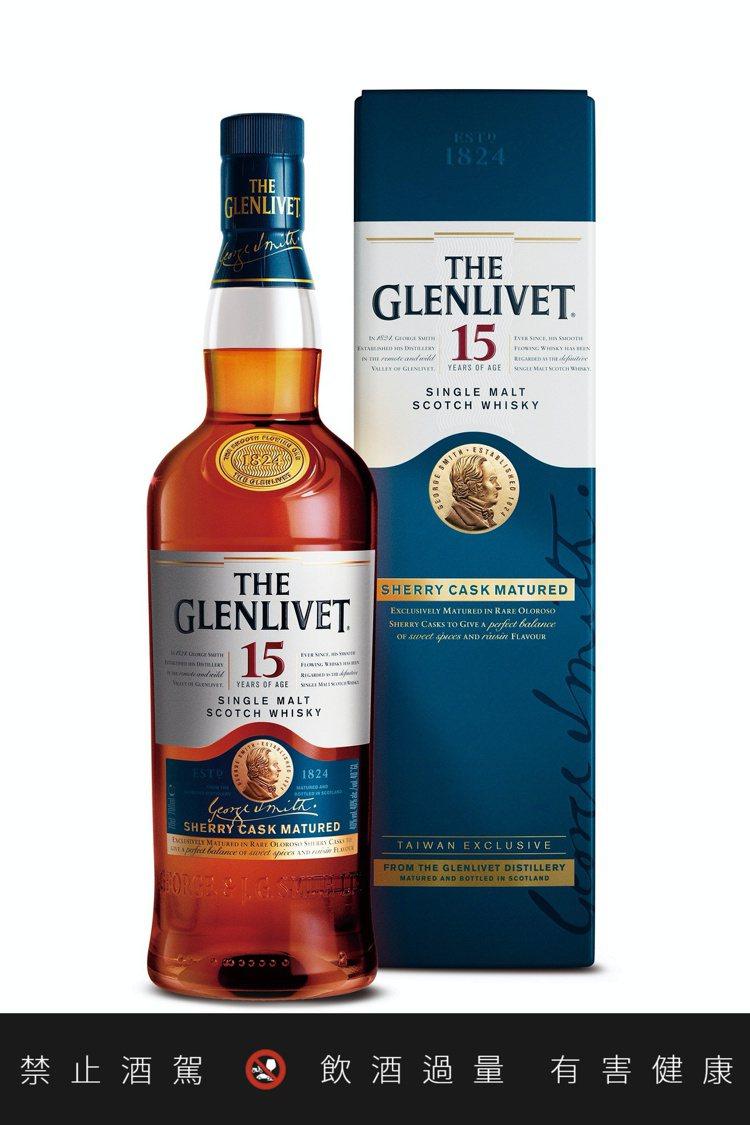格蘭利威15年雪莉桶單一麥芽蘇格蘭威士忌,建議售價1,680元。圖/保樂力加提供...