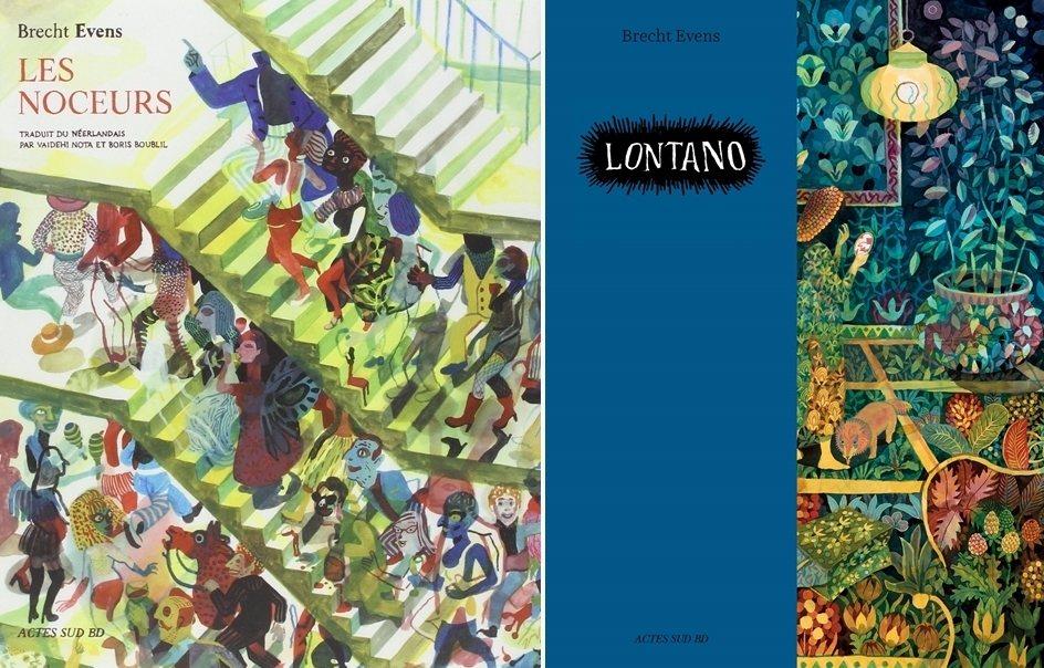 左:2009年出版的《錯誤之地》,隔年譯為法文版《夜狂歡》。右:2019年出版的Lontano系列。 圖/童里繪本洋行